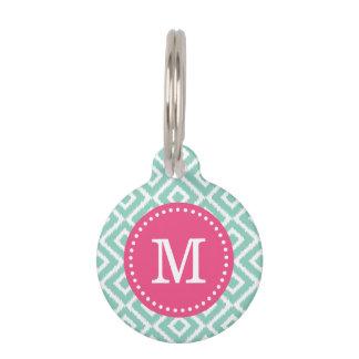 Aqua and Pink Ikat Diamonds Monogram Pet Name Tag