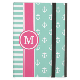Aqua and Pink Nautical Anchors Monogram Case For iPad Air