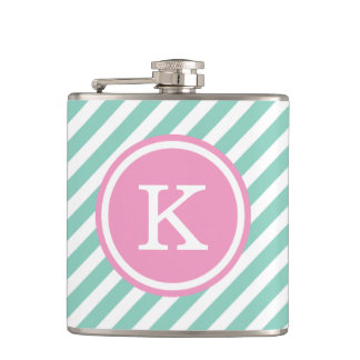 Aqua and Pink Nautical Stripes Monogram Hip Flask