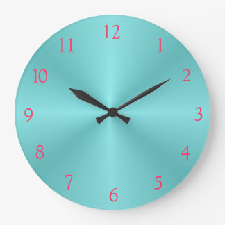 Aqua and Pink> Plain Wall Clock