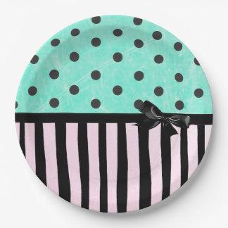Aqua and Pink Polka Dot Striped  Paper Plate