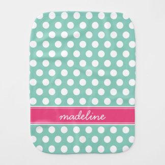 Aqua and Pink Polka Dots Monogram Burp Cloth