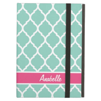 Aqua and Pink Quatrefoil Monogram iPad Air Cover