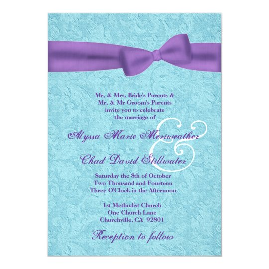 Aqua and Purple Damask and Bow Wedding R541 Card