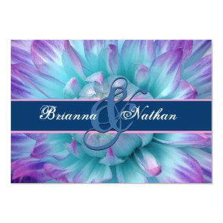 Aqua and Purple Flower Petals  and Ribbon Wedding Custom Invites