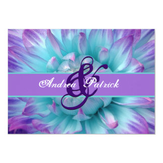 Aqua and Purple Flower Petals Wedding D581 Personalized Announcement