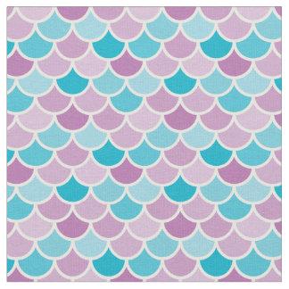 Aqua and Purple Mermaid Scales Pattern Fabric