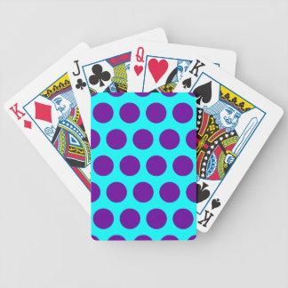 Aqua and Purple Polka Dots Bicycle Playing Cards