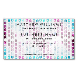 Aqua and Purple Watercolor Arrows Magnetic Business Cards