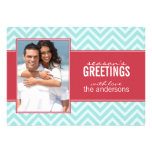 Aqua and Red Chic Chevrons Custom Holiday Cards Personalized Announcements