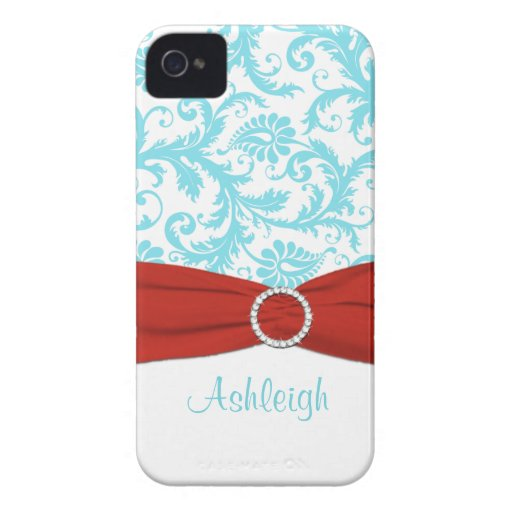 Aqua and Red Damask Blackberry Bold Case