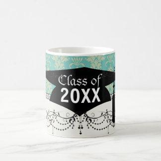 aqua and sage lovely damask pattern graduation basic white mug