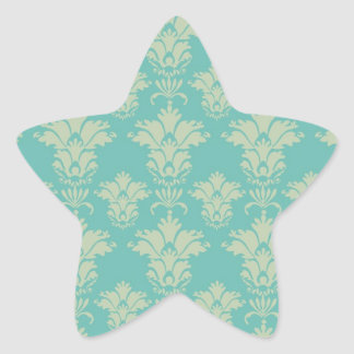 aqua and sage lovely damask pattern star sticker