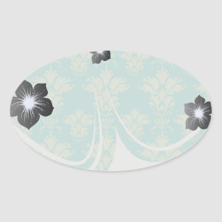 aqua and sage lovely damask pattern stickers