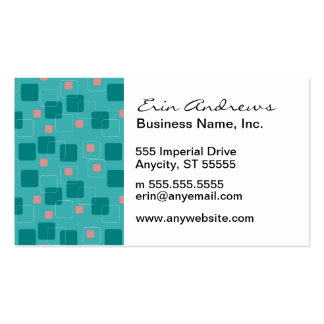 Aqua and Salmon Squares pattern Pack Of Standard Business Cards
