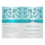 Aqua and Silver Floral Quinceanera Program