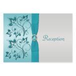 Aqua and Silver Floral Reception Card