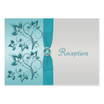 Aqua and Silver Floral Reception Card Pack Of Chubby Business Cards