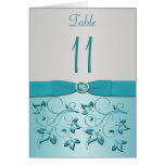 Aqua and Silver Floral Table Number Card