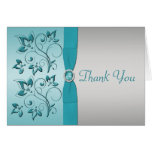 Aqua and Silver Floral Thank You Card