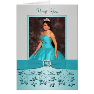 Aqua and Silver Floral Thank You card with Photo