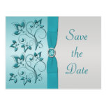 Aqua and Silver Quinceanera Save the Date Card