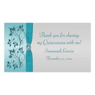 Aqua and Silver Quinceanera Sweet 16 Favor Tag Business Card Templates
