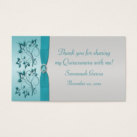 Aqua and Silver Quinceanera/Sweet 16 Favour Tag