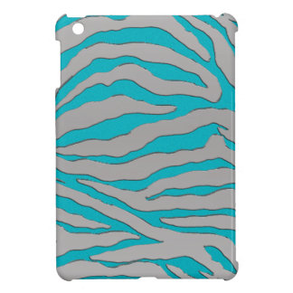 Aqua and Silver Zebra Stripe iPad Mini Cases