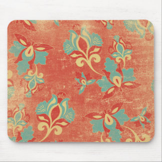 Aqua and Tangerine Floral Mousepad
