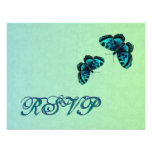 Aqua and Teal Butterfly Damask RSVP Wedding Personalised Invitation