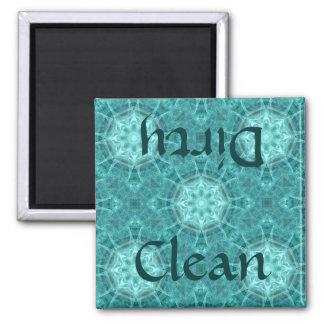 Aqua and teal fractal kaleidoscope clean/dirty magnet