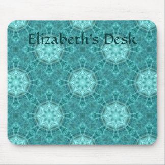 Aqua and teal fractal kaleidoscope for your name mouse mat