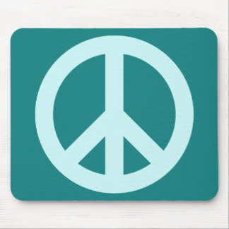 Aqua and Teal Peace Symbol Mouse Mat