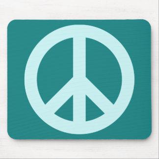 Aqua and Teal Peace Symbol Mouse Pad