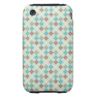 Aqua and Turquoise Argyle Tough iPhone 3 Cases
