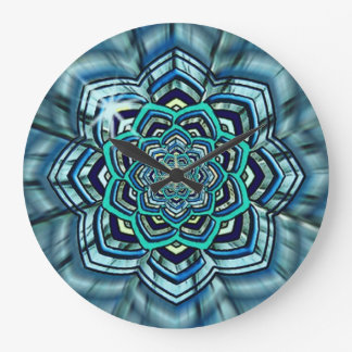Aqua and Turquoise Lotus Mandala Wall Clock