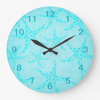 Aqua and Turquoise Starfish Design. Large Clock