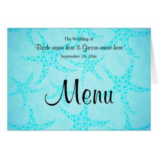 Aqua and Turquoise Starfish Wedding. Card