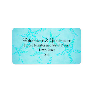 Aqua and Turquoise Starfish Wedding. Label