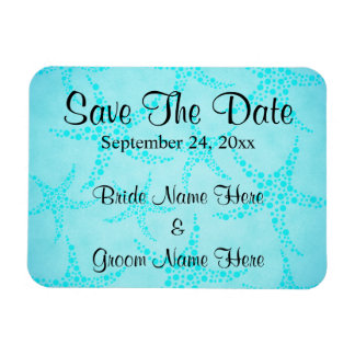 Aqua and Turquoise Starfish Wedding. Magnet