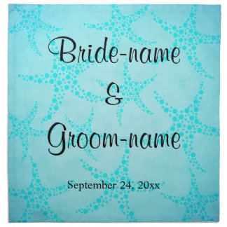 Aqua and Turquoise Starfish Wedding. Napkin