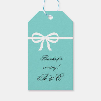 Aqua and White Bow Gift Tags