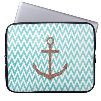 Aqua and White Chevron Glitter Anchor Laptop Sleeve