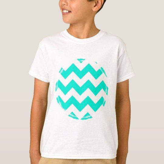 Aqua and White Chevron Pattern T-Shirt