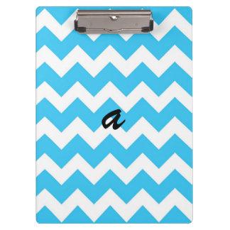 Aqua and White Chevron Stripe Clipboard