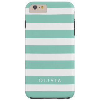 Aqua and White Classic Stripes Monogram Tough iPhone 6 Plus Case
