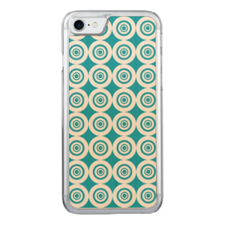 Aqua and White Concentric Circles Pattern Carved iPhone 8/7 Case