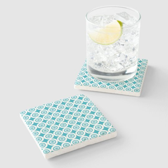 Aqua and White Concentric Circles Pattern Stone Coaster