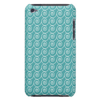 Aqua and White Curlie Cue Pattern iPod Touch Covers